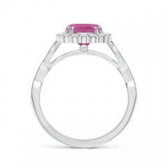 Toggle Cushion Pink Tourmaline Ring with Floral Halo
