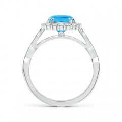 Toggle Cushion Swiss Blue Topaz Ring with Floral Halo