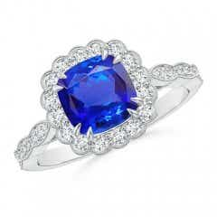 Cushion Tanzanite Ring with Floral Halo