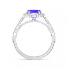 Toggle Cushion Tanzanite Ring with Floral Halo