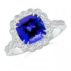 Angara Art Deco Inspired Cushion Tanzanite Ring with Diamond Halo in Platinum ENwLrE5K9D