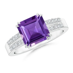 Claw Set Emerald Cut Amethyst Ring with Diamond Accents