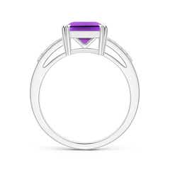 Toggle Solitaire Emerald-Cut Amethyst Split Shank Ring