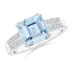 Solitaire Emerald-Cut Aquamarine Split Shank Ring