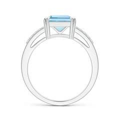 Toggle Solitaire Emerald-Cut Aquamarine Split Shank Ring
