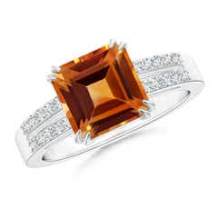 Angara Solitaire Double Claw Citrine Diamond Trinity Ring in Platinum gSrAu1q