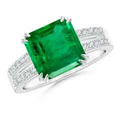 Solitaire GIA Certified Octagonal Emerald Split Shank Ring