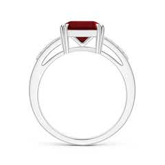 Toggle Solitaire Emerald-Cut Garnet Split Shank Ring