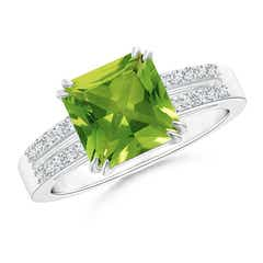 Claw Set Emerald Cut Peridot Ring with Diamond Accents
