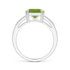 Toggle Solitaire Emerald-Cut Peridot Split Shank Ring
