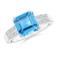 Solitaire Emerald-Cut Swiss Blue Topaz Split Shank Ring