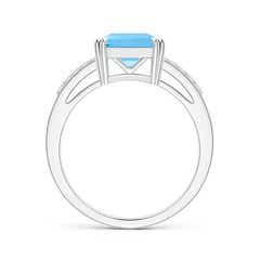 Toggle Solitaire Emerald-Cut Swiss Blue Topaz Split Shank Ring