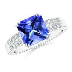 Claw Set Emerald Cut Tanzanite Ring with Diamond Accents