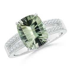 GIA Certified Cushion Green Amethyst (Prasiolite) Split Shank Ring