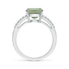 Toggle GIA Certified Cushion Green Amethyst Split Shank Ring