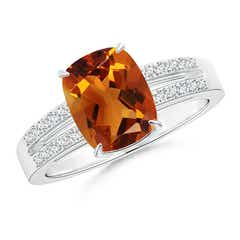 Cushion Citrine Split Shank Ring with Diamond Accents