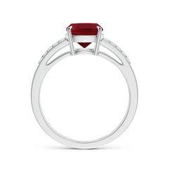 Cushion Cut Garnet Split Shank Ring with Diamond Accents