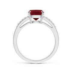 Toggle Cushion Garnet Split Shank Ring with Diamond Accents