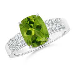 Cushion Peridot Split Shank Ring with Diamond Accents
