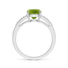 Toggle Cushion Peridot Split Shank Ring with Diamond Accents