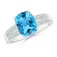 Cushion Swiss Blue Topaz Split Shank Ring with Diamonds