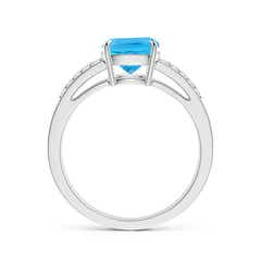 Toggle Cushion Swiss Blue Topaz Split Shank Ring with Diamonds