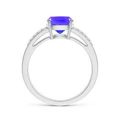 Toggle Cushion Tanzanite Split Shank Ring with Diamond Accents