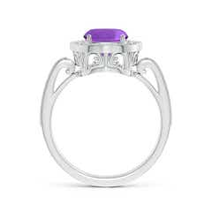 Toggle Cushion Amethyst Halo Ring