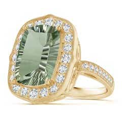 GIA Certified Cushion Green Amethyst (Prasiolite) Halo Ring