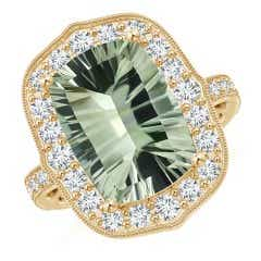 Toggle GIA Certified Cushion Green Amethyst (Prasiolite) Halo Ring