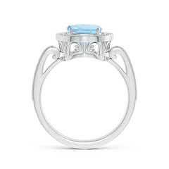 Toggle Cushion Aquamarine Halo Ring