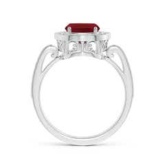 Toggle Cushion Garnet Halo Ring