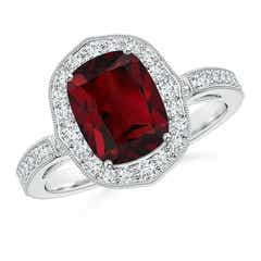 Cushion Cut Garnet Halo Ring with Diamond Accents