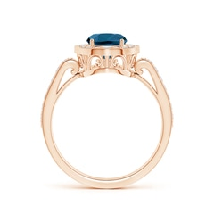 Toggle Cushion London Blue Topaz Halo Ring