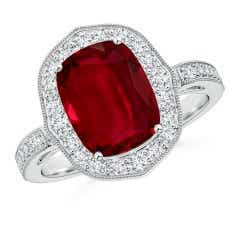 GIA Certified Cushion Ruby Halo Ring