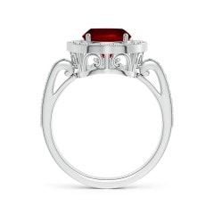 Toggle GIA Certified Cushion Ruby Halo Ring
