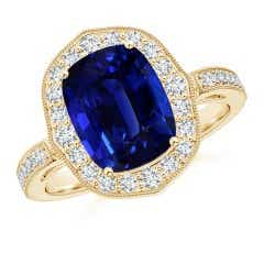 Angara Sapphire Ring - GIA Certified Pear-Shaped Sapphire Ring with Diamond Halo gdKbmK1IV