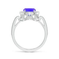 Toggle Cushion Tanzanite Halo Ring
