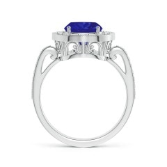 Toggle GIA Certified Cushion Tanzanite Halo Ring