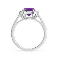 Toggle Art Deco Cushion Cut Amethyst Ring with Diamond Accents