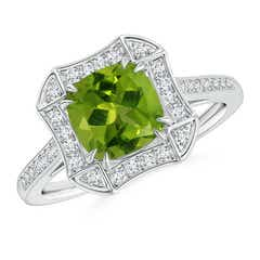Art Deco Cushion Cut Peridot Ring with Diamond Accents
