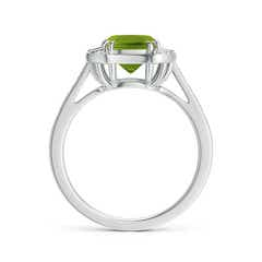 Toggle Art Deco Cushion Cut Peridot Ring with Diamond Accents