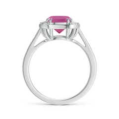 Toggle Art Deco Cushion Cut Pink Tourmaline Ring with Diamond Accents