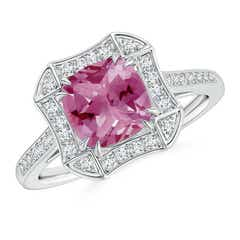 Art Deco Cushion Cut Pink Tourmaline Ring with Diamond Accents