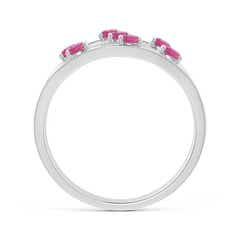 Toggle Scattered Split Seven Pink Tourmaline Wedding Band Ring