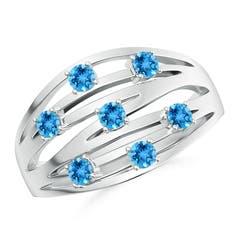 Scattered Split Seven Swiss Blue Topaz Wedding Band Ring