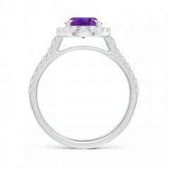 Toggle Double Claw-Set Oval Amethyst Halo Ring with Diamonds