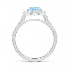 Toggle Double Claw-Set Oval Aquamarine Halo Ring with Diamonds