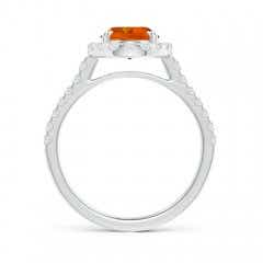Toggle Double Claw-Set Oval Citrine Halo Ring with Diamonds