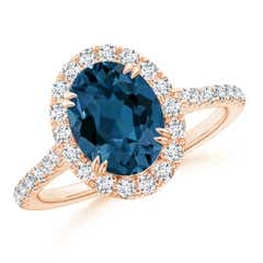 Double Claw-Set London Blue Topaz Halo Ring with Diamonds